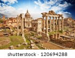 Sunset Above Ancient Ruins Of...