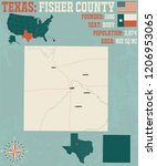 detailed map of fisher county... | Shutterstock .eps vector #1206953065