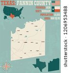 detailed map of fannin county... | Shutterstock .eps vector #1206953488