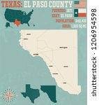 detailed map of el paso county... | Shutterstock .eps vector #1206954598