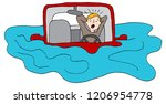 an image of a driver trapped on ... | Shutterstock .eps vector #1206954778