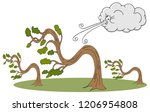 an image of a bending trees and ... | Shutterstock .eps vector #1206954808