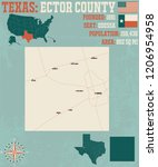 detailed map of ector county in ... | Shutterstock .eps vector #1206954958