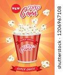 pop corn box ads.illustration... | Shutterstock .eps vector #1206967108
