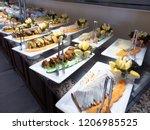 hotel interior  buffet table ... | Shutterstock . vector #1206985525