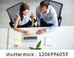 office workers colleagues... | Shutterstock . vector #1206996055