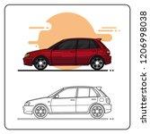 maroon city car | Shutterstock .eps vector #1206998038