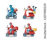 courier men of logistic service ... | Shutterstock .eps vector #1207000225