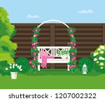 a bench in the backyard. | Shutterstock .eps vector #1207002322