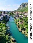 neretva river and old bridge...   Shutterstock . vector #1207003015