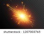 christmas sparkler. fiery... | Shutterstock .eps vector #1207003765