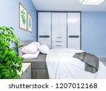 modern family bedroom design ... | Shutterstock . vector #1207012168