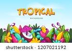 tropical summer border... | Shutterstock .eps vector #1207021192