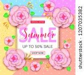 summer sale banner design with... | Shutterstock . vector #1207035382