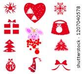 christmas tree decor | Shutterstock .eps vector #1207040578