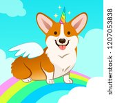 unicorn corgi dog with horn and ... | Shutterstock .eps vector #1207053838