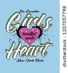girls heart slogan design | Shutterstock .eps vector #1207057798