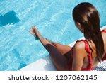 beautiful woman enjoying the... | Shutterstock . vector #1207062145