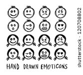 Hand drawn vector emotions. - stock vector
