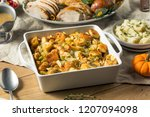 homemade bread stuffing for... | Shutterstock . vector #1207094098