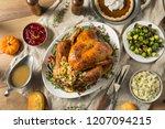 whole roasted turkey dinner for ... | Shutterstock . vector #1207094215