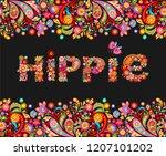 t shirt design on black... | Shutterstock .eps vector #1207101202