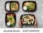 plastic containers with... | Shutterstock . vector #1207104922