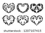 decorative hearts made of plant ... | Shutterstock .eps vector #1207107415