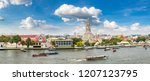 panorama of wat arun temple in... | Shutterstock . vector #1207123795