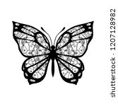 butterfly with patterned wings. ... | Shutterstock .eps vector #1207128982
