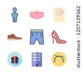 fashion icon set. vector set... | Shutterstock .eps vector #1207139362