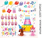 Happy Birthday design elements set