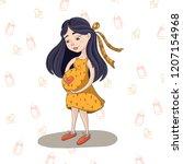 brunette pregnant girl waiting... | Shutterstock .eps vector #1207154968