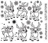set of reindeer . cartoon... | Shutterstock .eps vector #1207187098