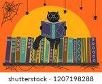 halloween. black cat reading...   Shutterstock .eps vector #1207198288