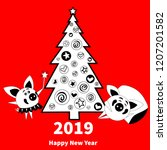 happy  new year 2019 greeting... | Shutterstock .eps vector #1207201582