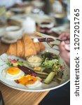 breakfast is in a cafe   Shutterstock . vector #1207201765