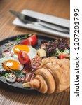 breakfast is in a cafe   Shutterstock . vector #1207201795