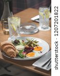 breakfast is in a cafe   Shutterstock . vector #1207201822