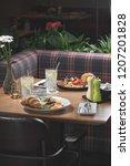 breakfast is in a cafe   Shutterstock . vector #1207201828