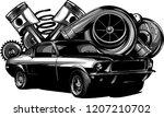 vintage car components... | Shutterstock .eps vector #1207210702