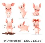 Cute Pig Collection. Cartoon...