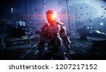 military robot in destroyed... | Shutterstock . vector #1207217152