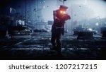 police zombie in dark destroyed ... | Shutterstock . vector #1207217215