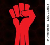 red clenched fist hand vector.... | Shutterstock .eps vector #1207222885
