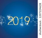 happy new year 2019 french... | Shutterstock .eps vector #1207224628