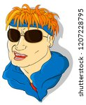 cool man in blue bandana and... | Shutterstock .eps vector #1207228795