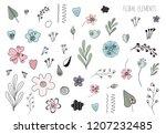 floral doodling vector set | Shutterstock .eps vector #1207232485