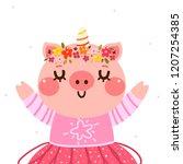 cartoon pig in a unicorn... | Shutterstock .eps vector #1207254385