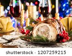 traditional italian porchetta.... | Shutterstock . vector #1207259215